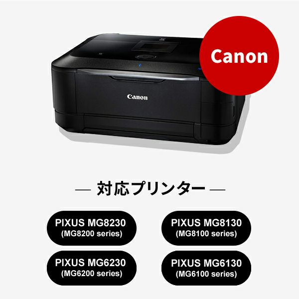 対応プリンターは、PIXUS MG8230(M8200 series)、PIXUS MG8130(MG8100 series)、PIXUS MG6230(MG6200 series)です。