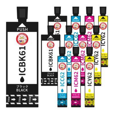 IC4CL6162(IC6162 ペンとクリップ)EPSON [エプソン] 互換インク 4色×3セット