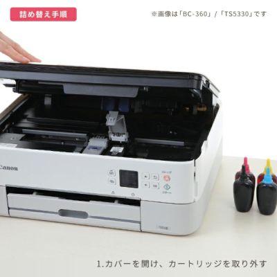 詰め替えインクは簡単!カートリッジにインクを補充するだけの3ステップで完了します。